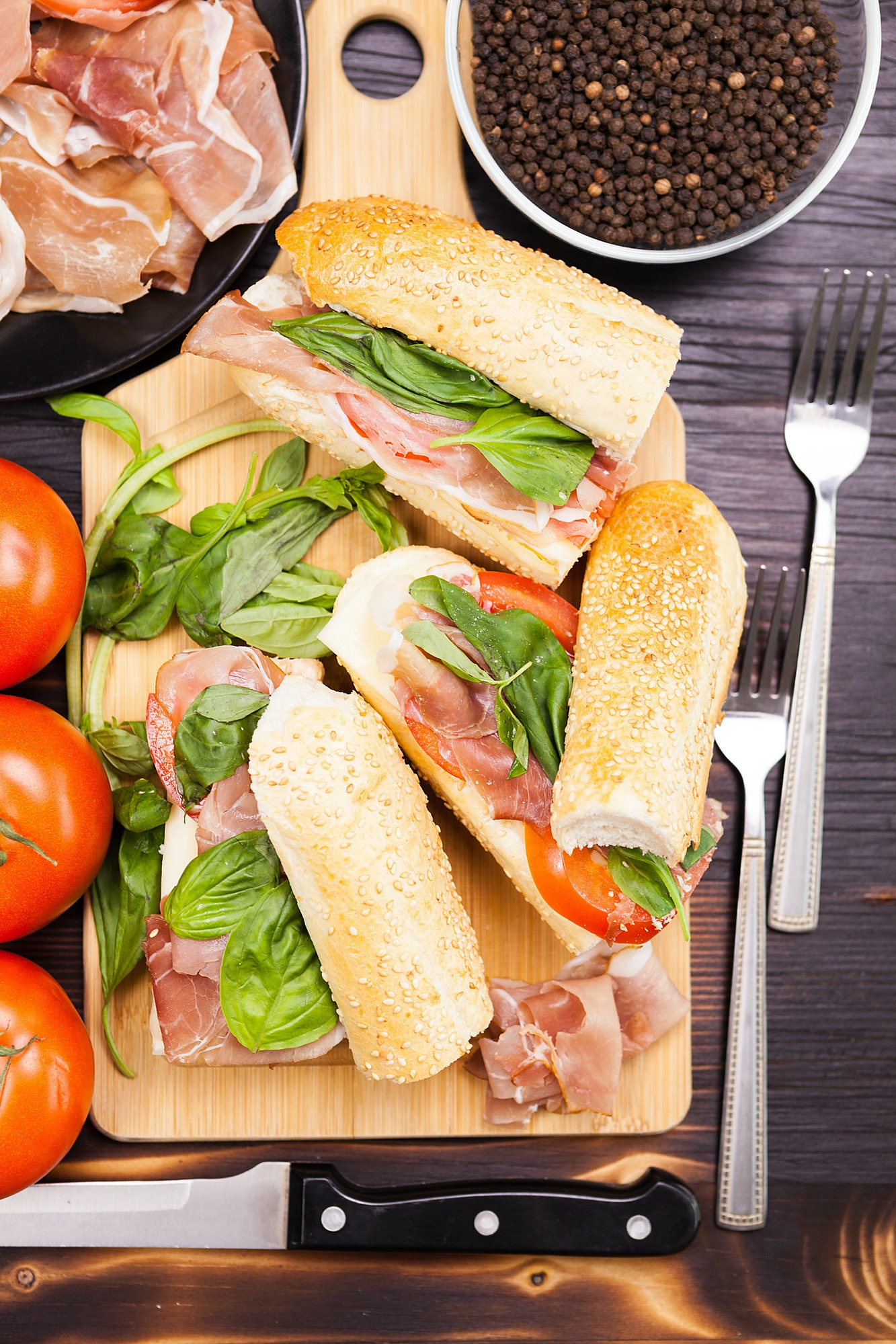 Close up on healthy sandwiches lying on wooden board