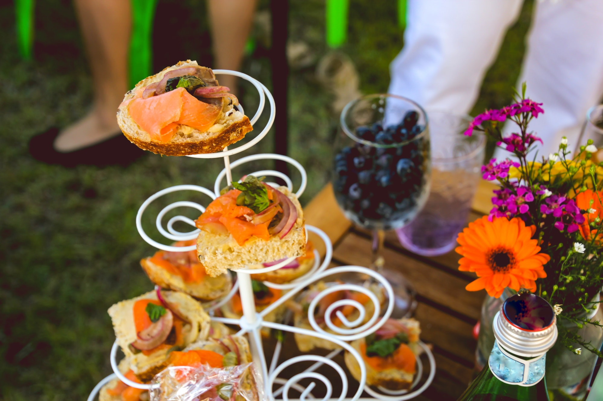 food on the table at a summer garden party